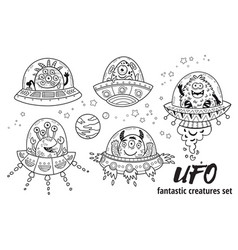 Ufo fantastic creatures set in outline vector