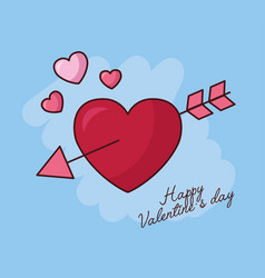 Valentines day celebration with hearts and arrow vector