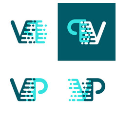 Vp letters logo with accent speed green and blue vector