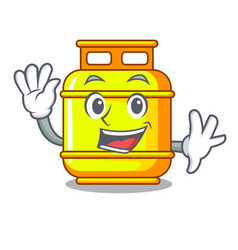 Waving gas tank operating the character cooking vector