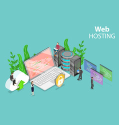 Web hosting service isometric flat concept vector