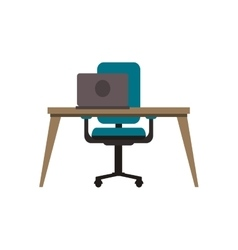 workplace desk chair and computer icon vector image