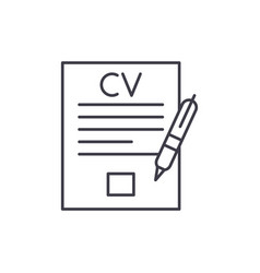 writing a resume line icon concept writing a vector image