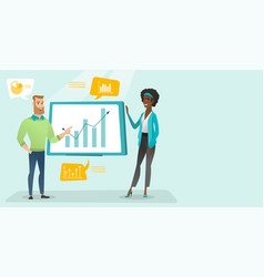 young business people presenting financial data vector image