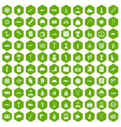 100 war crimes icons hexagon green vector