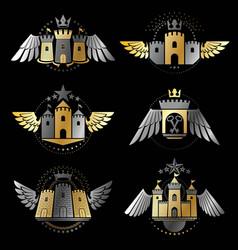 ancient bastions emblems set heraldic design vector image
