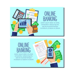 bank system design banners vector image vector image