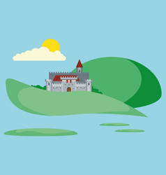 beautiful landscape with old stronghold vector image