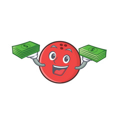 Bowling ball character cartoon with money vector