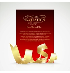 Card with gold ribbon and copy space vector image vector image