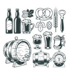 Collection retro icons of beer isolated on white vector image vector image