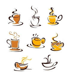 Cups of hot coffee vector image vector image