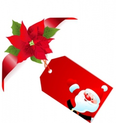 red poinsettia and label vector image vector image