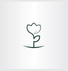 simple flower plant line icon logo vector image