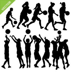 Women play basketball silhouettes vector