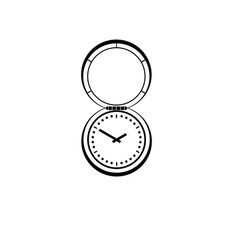 a graphic drawing of an antique pocket watch with vector image