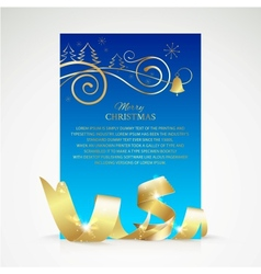 Christmas card with gold ribbon and copy space vector image vector image