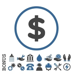 Dollar Flat Rounded Icon With Bonus vector image