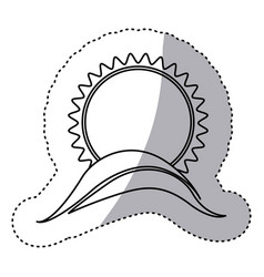 monochrome contour sticker with sun over hill vector image vector image