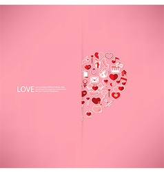 Pink icon heart Valentines day card with sign vector image