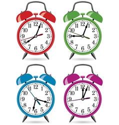 set of colorful retro alarm clocks vector image vector image
