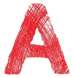 sketch letter A isolated on white background vector image