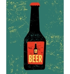 Vintage grunge style poster with a beer bottle vector image