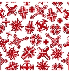 Ancient christian crucifixes red seamless pattern vector image vector image