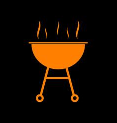 barbecue simple sign orange icon on black vector image