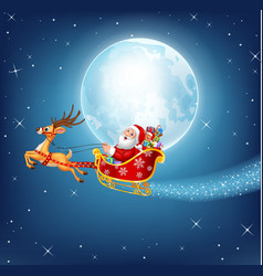 Happy Santa in his Christmas sled being pulled vector image vector image