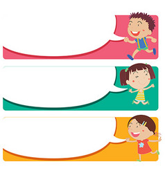 Label design with kids and speech bubbles vector image