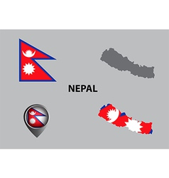Map of Nepal and symbol vector image vector image