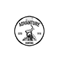 mountain goat retro logo vector image vector image