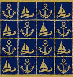seamless pattern with ropes anchors and boats vector image vector image