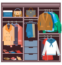 wardrobe with clothes and accessories flat vector image