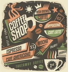 Retro chalk board menu design template for coffee vector image