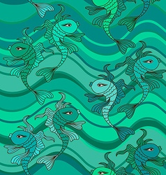 Seamless pattern of waves and fish vector image