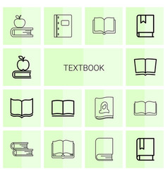 14 textbook icons vector image