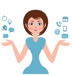 A woman with computer icons vector