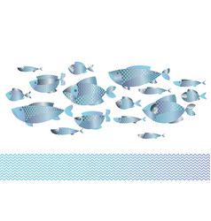 Abstract assorted blue silver fish pattern vector