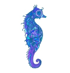 Abstract colored sea horse print vector