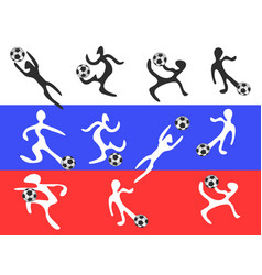 abstract players playing soccer on russia flag vector image