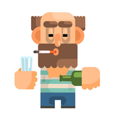 alcoholic with glass and bottle revolting vector image