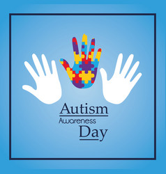 Autism awareness day hands support event medical vector