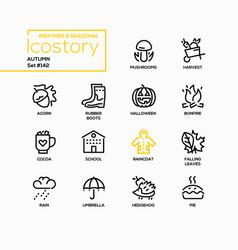 autumn - modern line design style icons set vector image