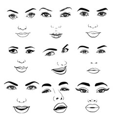 beautiful fashion woman portrait set for make up vector image
