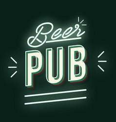 Beer pub 3d neon light lettering vector