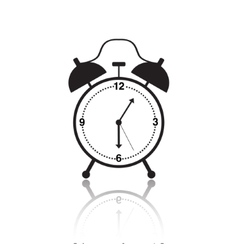 black and white alarm clock icon vector image