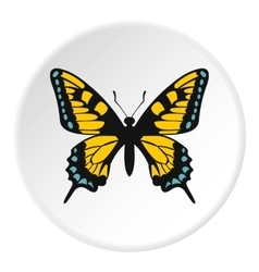 Blue and yellow butterfly icon flat style vector