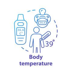 Body temperature measuring gadgets concept icon vector